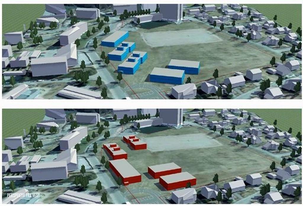 Slik ser Undervisningsbygg for seg to mulige løsninger for plassering av paviljoner på Myrerjordet. Illustrasjon: (Utlånt fra Undervisningsbygg)