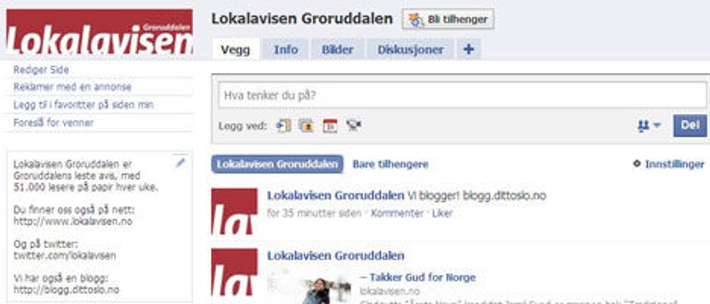 Lokalavisen Groruddalen er på Facebook.