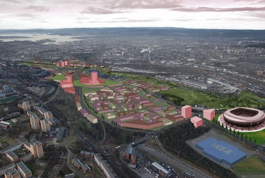 Slik så Oslo kommune for seg et nasjonalanlegg for fotball på Kjelsrud. Nå får Groruddalen konkurranse fra Søndre Nordstrand.