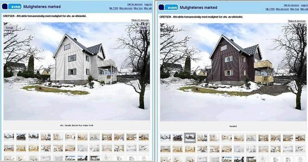 Bildet av det hvite huset er manipulert. Det er i brun utgave det selges. Under det manipulerte kommer det frem at det er slik huset vil se ut dersom det blir malt hvitt. Faksimile FINN.no