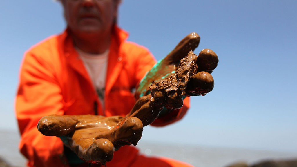 Mexicogolfen 17. mai 2010 VENICE, LA - MAY 17: Greenpeace marine biologist Paul Horsman shows oil collected from a jetti at the mouth of the Mississippi River on May 17, 2010 in near Venice, Louisiana. BP announced today that it is successfully siphoning off 1,000 barrels of oil per day from the Deepwater Horizon oil rig that exploded and sank to the bottom of the Gulf of Mexico April 22, killing 11 crew members. The amount of oil escaping from the well is a matter of dispute, making the success of BP's effort difficult for regulators to ascertain.