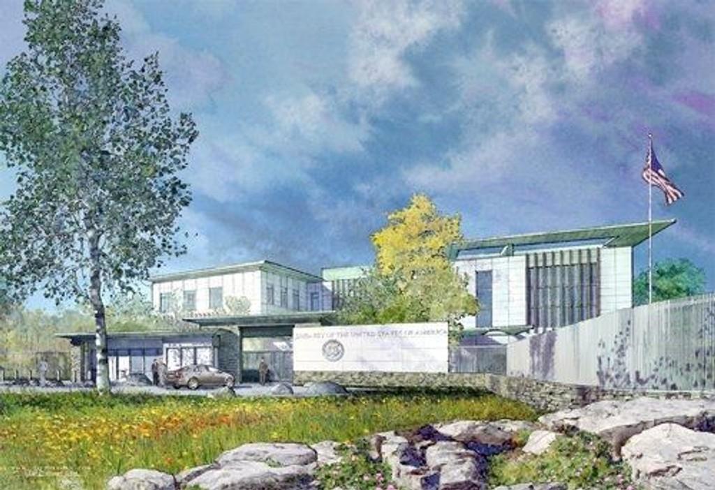 Skisse av den nye amerikanske ambassaden sett fra Morgedalsveien. Skisse: US Embassy