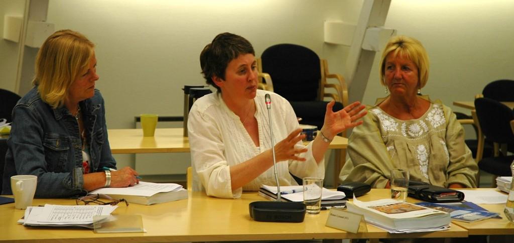 Monica Gulmoen (t.v.) fra Rødt fikk bare støtte fra Hanne Lyssand og Lill Pleym i SV for sitt ønske om bydelsboikott av Israel. Foto: Karl Andreas Kjelstrup