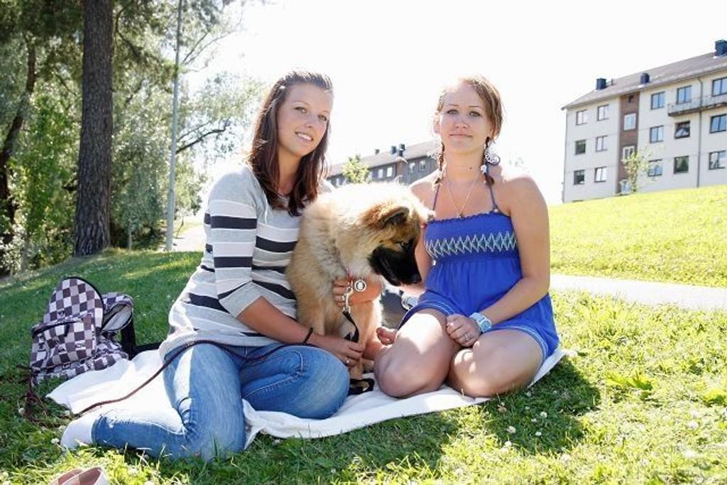 Anette Liland (19) har fått hund i sommer, og nyter livet i sola sammen med venninnen Maria Videsjorden (20) og sin nye firbeinte venn.