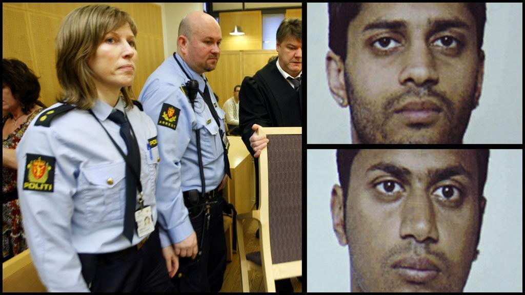 DØMT: Ghulam Abbas (øverst) og Shahid Rasool ble begge dømt til fengsel. Til venstre forsvarer Hans-Olav Bytningsvik under domsavsigelsen fredag.