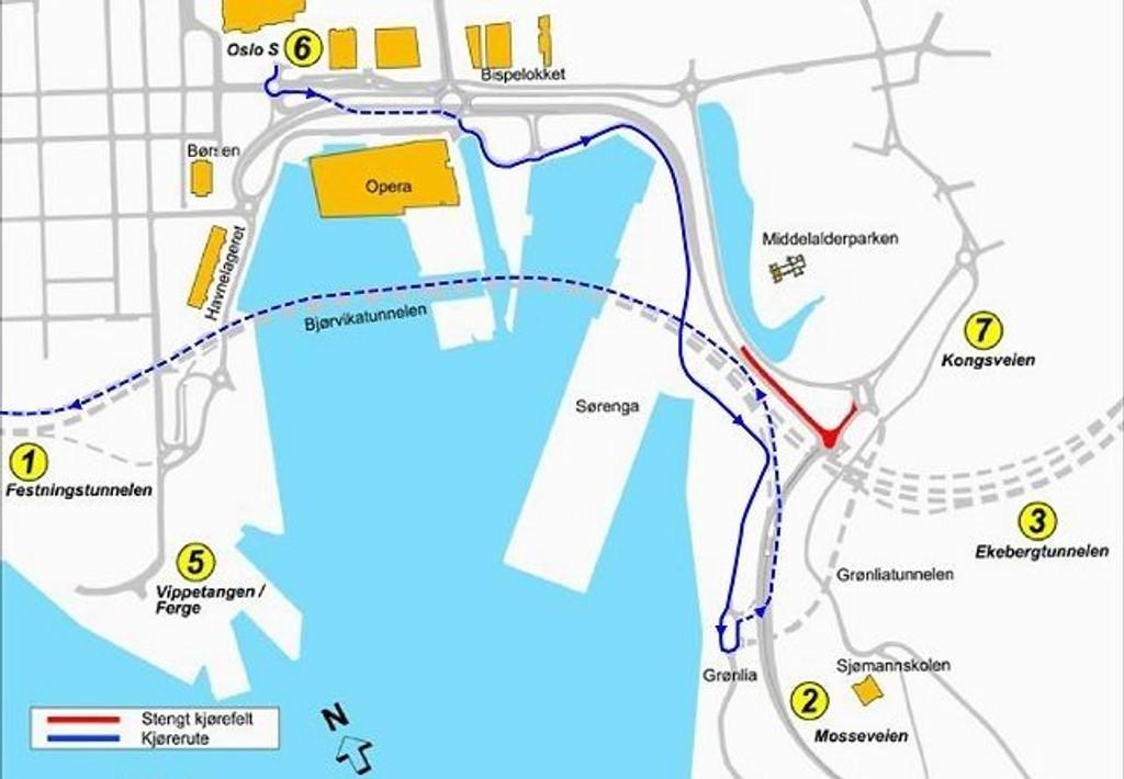 En av de store endringene i oslotrafikken er at man må kjøre østover til Grønlia for å komme seg vestover mot Drammen fra Oslo sentrum.