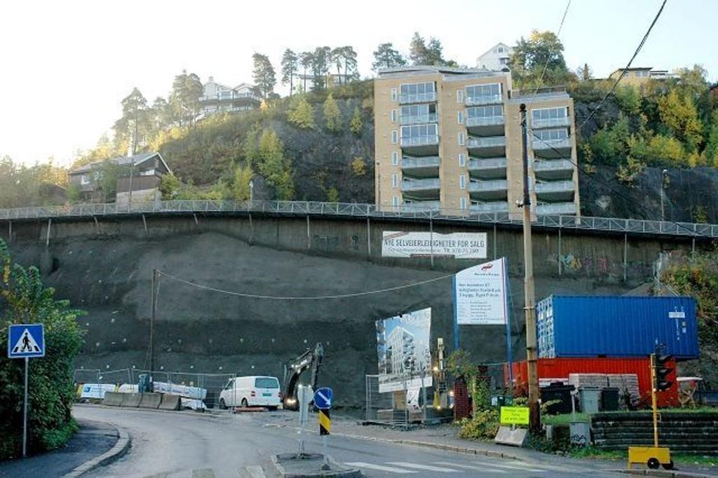 Det arbeides iherdig på byggetomten i Konowsgate 83, der det kommer totalt 67 leiligheter.