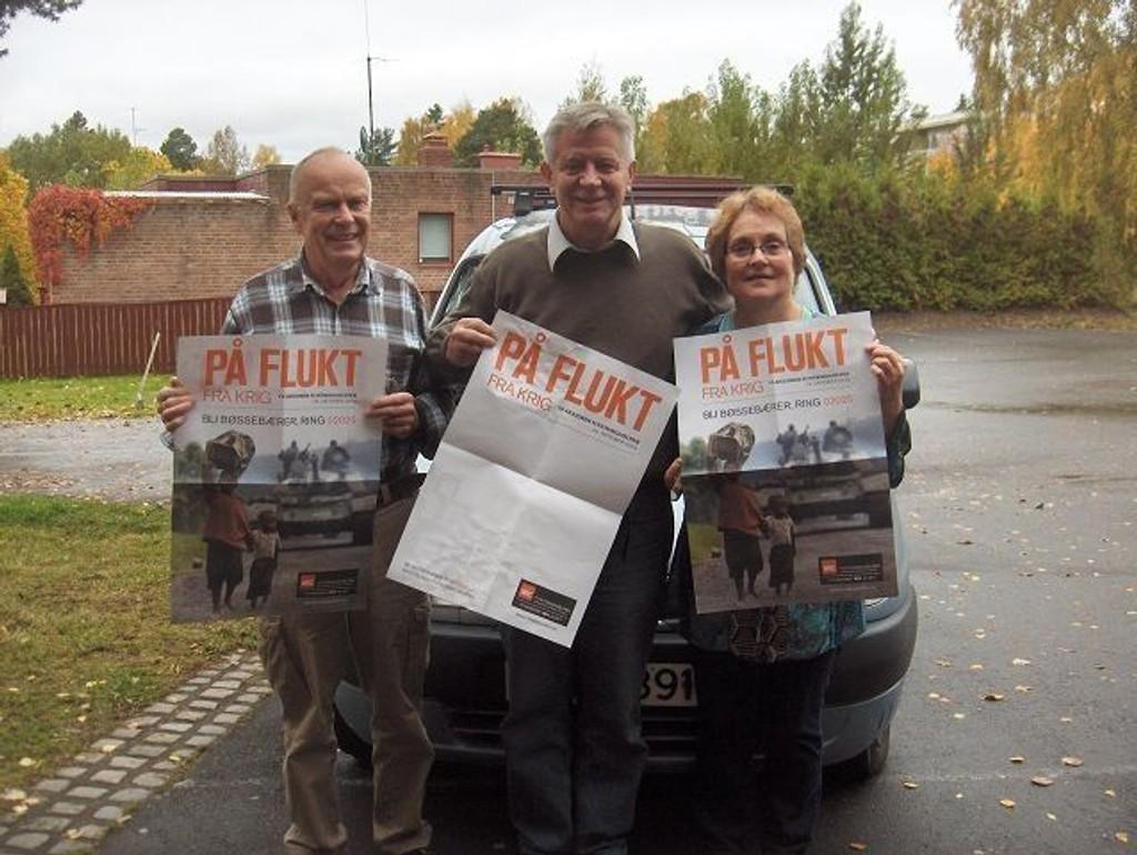 Arild Juland, Kai Adelsøn og Helga Storvik oppfordrer barn og foreldre til å være bøssebærer 24. oktober.