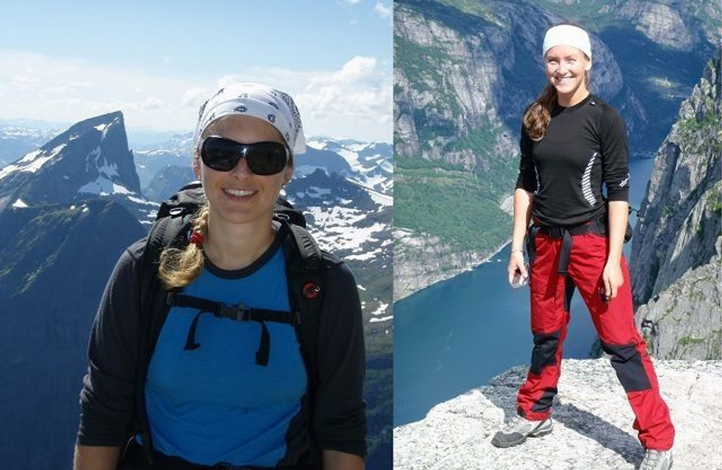 Søstrene Kristine Urke fra Vålerenga og Berit Helene Urke fra Oppsal er begge glade i å gå toppturer. Her er (f.v.) Kristine ved Slogen og Berit Helene på Kjerag.