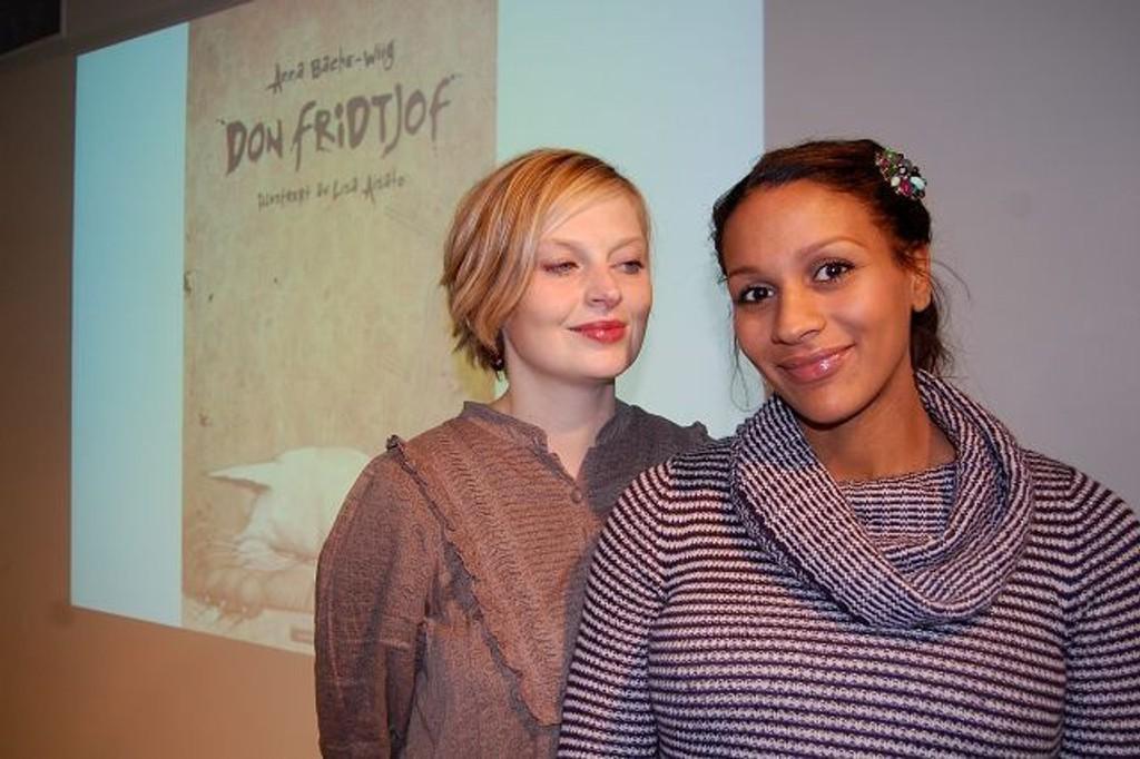 Anna Backe-Wiig (t.v.) har valgt å skrive barnebok på versemål fra Terje Vigen med illustrasjoner av Lisa Aisato (t.h.). Boka «Don Fridtjof» gikk rett hjem hos Riksmålforbundet.