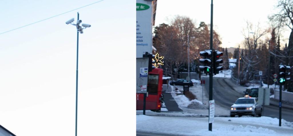 På toppen av den høye masten i Sæterkrysset står fire kameraer som fanger opp trafikkbildet og styrer siganllysene.