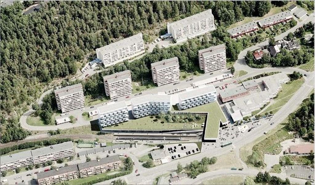 Denne illustrasjonen viser hvordan de tre nye blokkene på Bogerud senter blir liggende foran eksisterende blokker. Østensjø bydelsutvalg ønsker å bedre siktmulighetene til de som blir liggende bak.