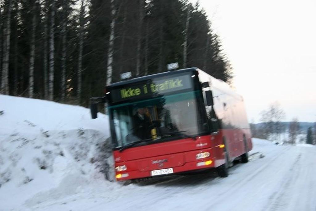 En av flere rutebusser som har endt i grøfta i Maridalen i vinter. Også personbiler har hatt store problemer med å holde seg på veien. Glatt vei og dårlig merkede brøytekanter er to av årsakene som nevnes som mulige årsaker.