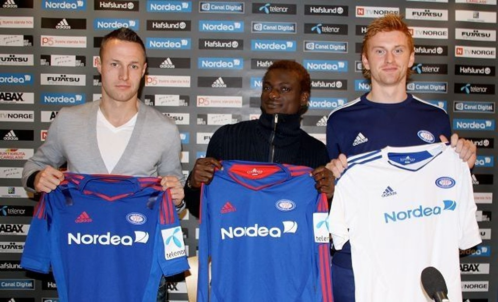 Fredrik Stoor (26), Sidoine Oussou (18) og Aleksander Solli (20) ble presentert under en pressekonferanse torsdag.