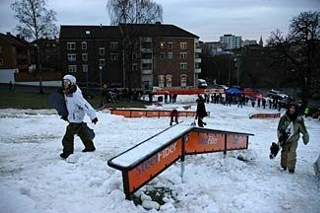 Jibbeparken på Grünerløkka er nå nydelig for dem som driver med jibbing.