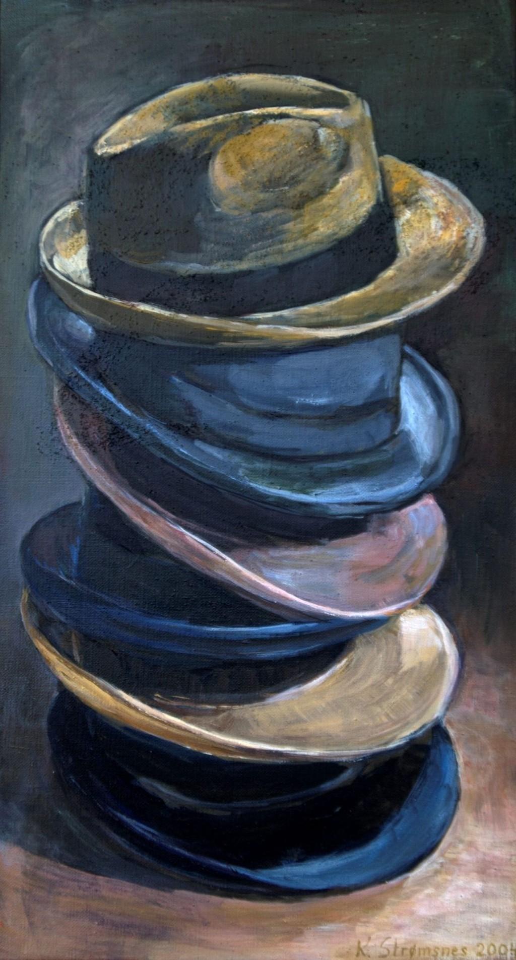 Et av Strømsnes hattebilder som nå er å se på Oppsal bibliotek.