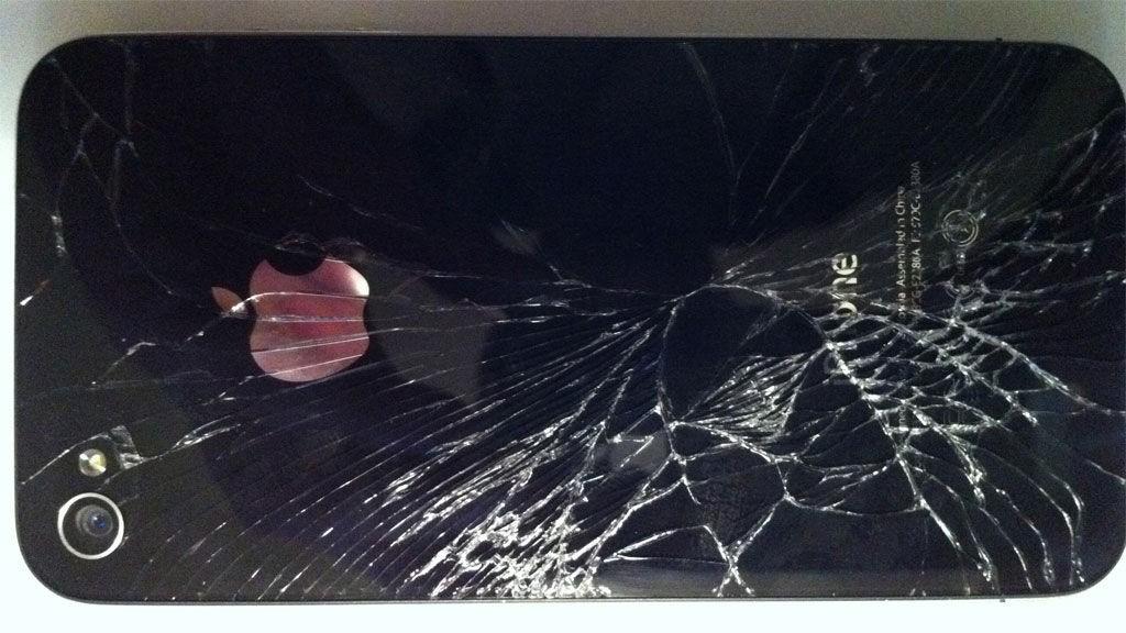 Slik så Lenis Iphone 4 ut etter at det smalt.
