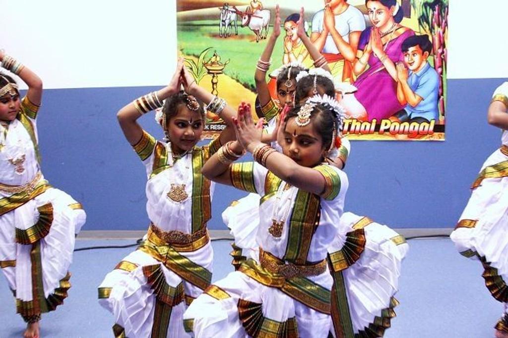 Etter felles måltid, hilsninger og taler var det duket for dans og mer til. Her klassisk indisk dans framført av unge jenter i sine vakre drakter.