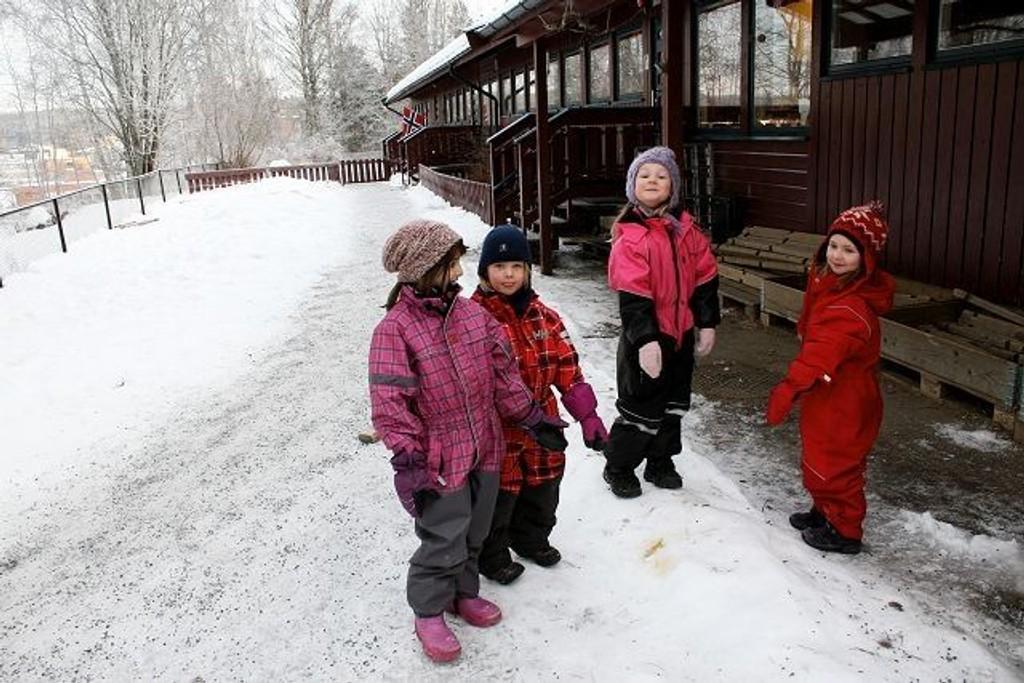 Gul snø og hundebæsj plager barn og ansatte i Bøler sentrum barnehage, de ber hundeeiere om å slutte å bruke barnehagen som luftegård.