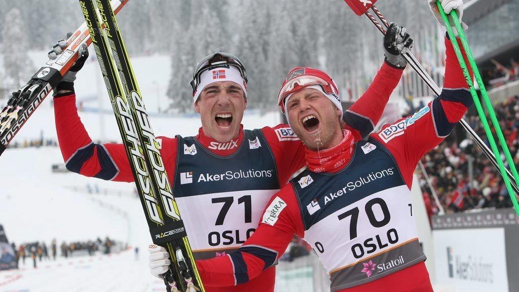 GÅR: Martin Johnsrund Sundby og Eldar Rønning skal begge gå herrestafetten for Norge. La oss håpe på mer jubel!