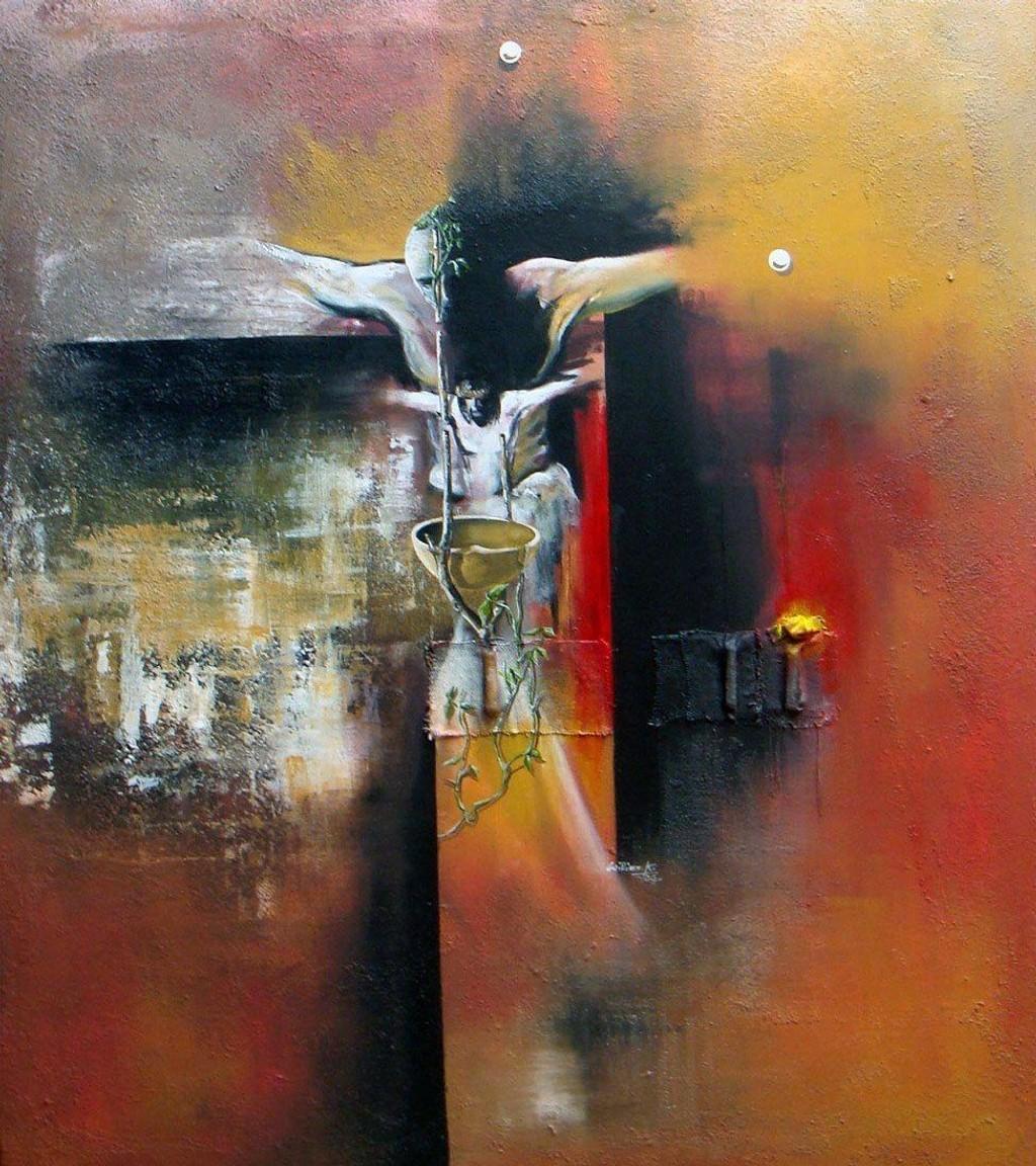PÅSKEKUNST: William Kayo, som har malt dette bildet, bidrar under påskeverkstedet i Hauketo-Prinsdal kirke.