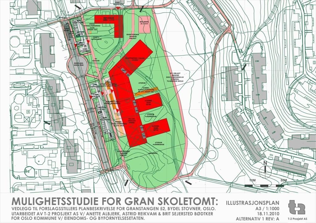 MULIG: Hvordan nye Gran skole skal se ut er ikke bestemt, men slik ser arkitektene for seg at den kan bli liggende i Gransdalen.