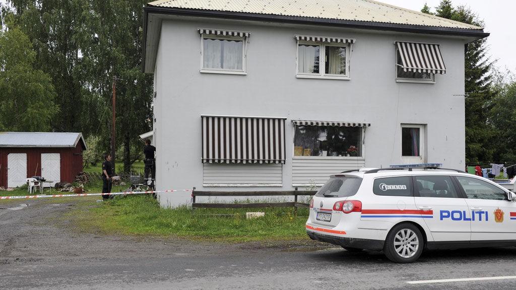 KIDNAPPET: Kvinnen skal ha blitt kidnappet fra dette huset på Stange.