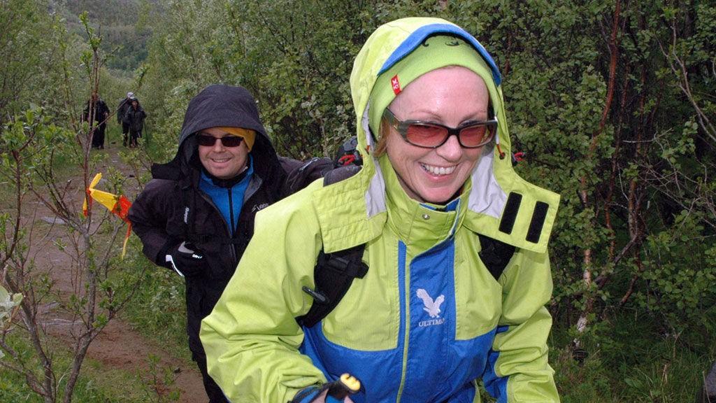 Ingrid Margrete og Arne Kristian Nordhei i farta opp mot Turisthytta.