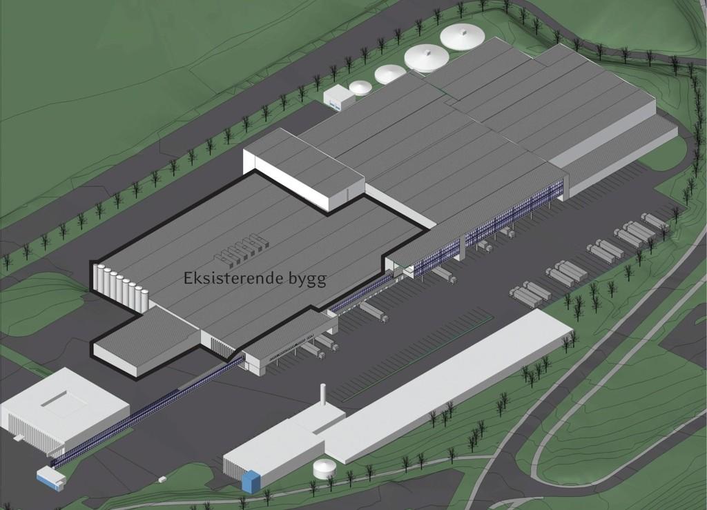 KAPASITET: Tine bygger nytt lager på Årvoll som gjør det mulig å øke kapasiteten på meieriet drastisk. Det kan bety mer trafikk til anlegget på Årvoll.