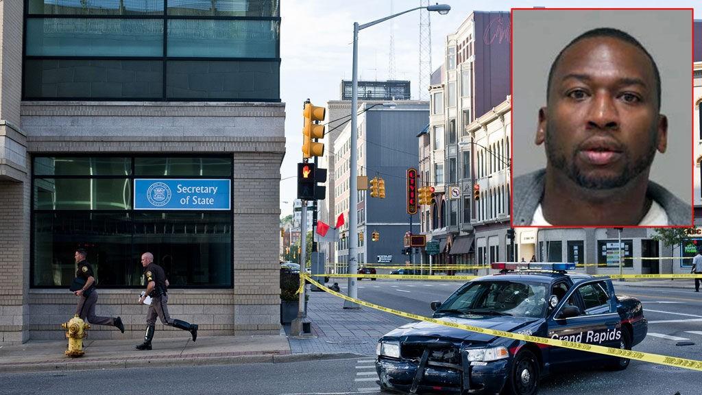 SKJØT SEG SELV: Rodrick Shonte Dantzler (innfelt) skjøt seg selv etter å ha drept syv personer.