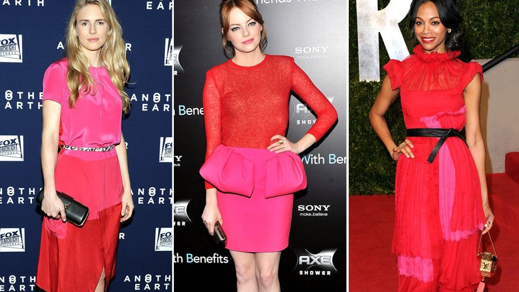 I ROSA OG RØDT: Brit Marling, Emma Stone og Zoe Saldana.