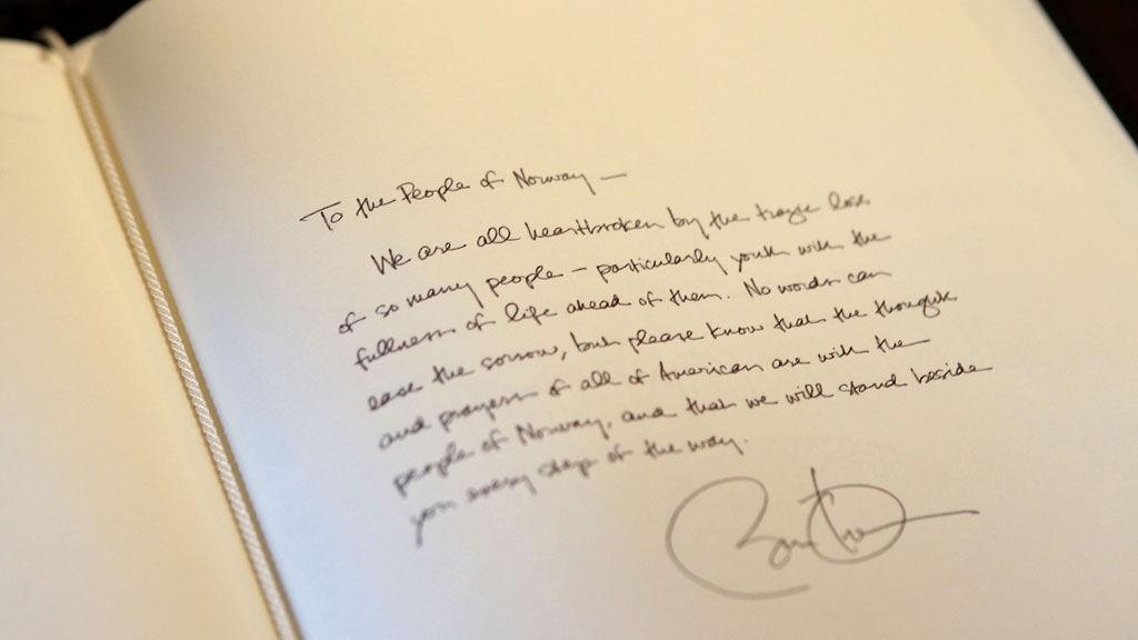 KONDOLANSEN: Barak Obamas hilsen til det norske folk.
