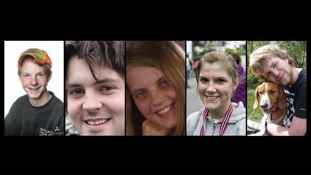 BEKREFTET DØDE: Fra venstre Eivind Hovden, Rolf Christopher Johansen Perreau, Marianne Sandvik, Lene Maria Bergum og Sondre Furseth Dale var fem av personene politiet bekreftet å ha omkommet torsdag.