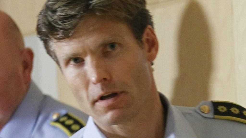 Politiadvokat Pål Fredrik Hjort Kraby på politiets pressekonferanse etter terroraksjonen mot Regjeringskvartalet og Utøya.