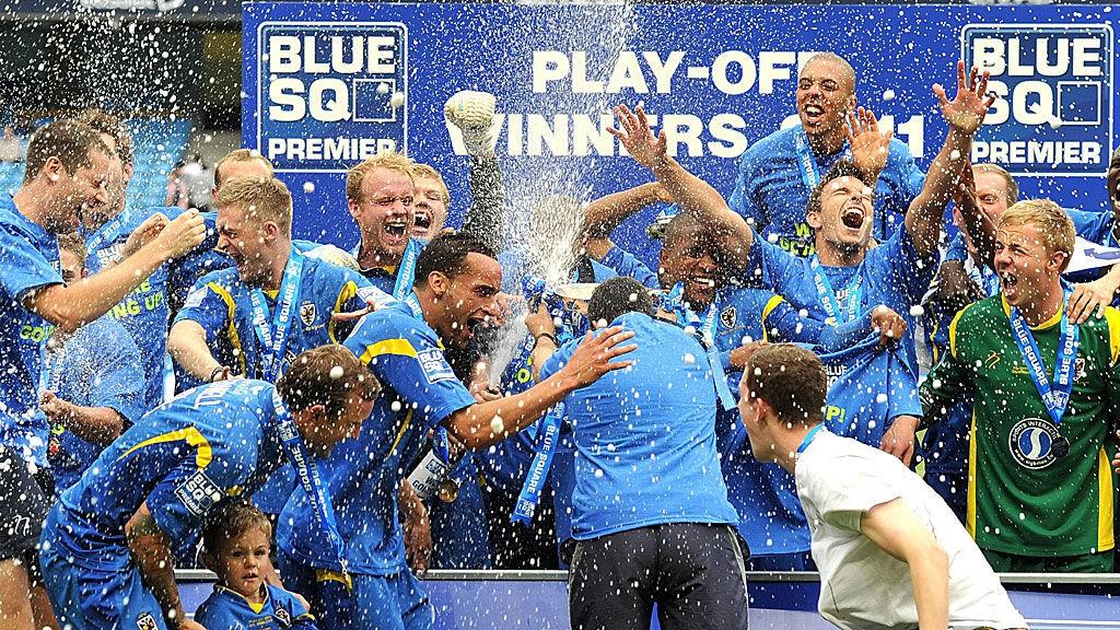GLEDE: Så stor var gleden da AFC Wimbledon sikret opprykk til League Two i mai.