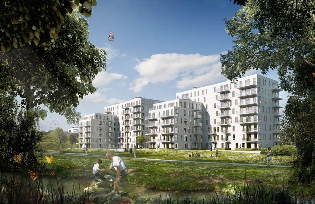 FERNANDAS HAGE: Slik blir det nye boligprosjektet fremstilt. Tett ned mot elva, og en del av Akerselva Naturpark.