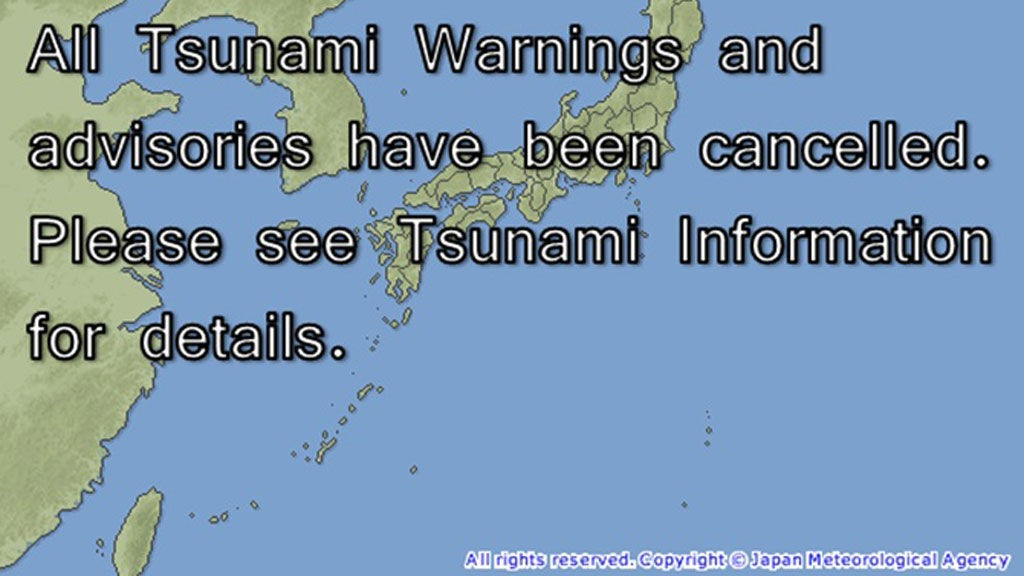 AVBLÅST: Japans meteorologiske institutt avblåste fredag morgen tsunami-varselet de hadde sendt ut.