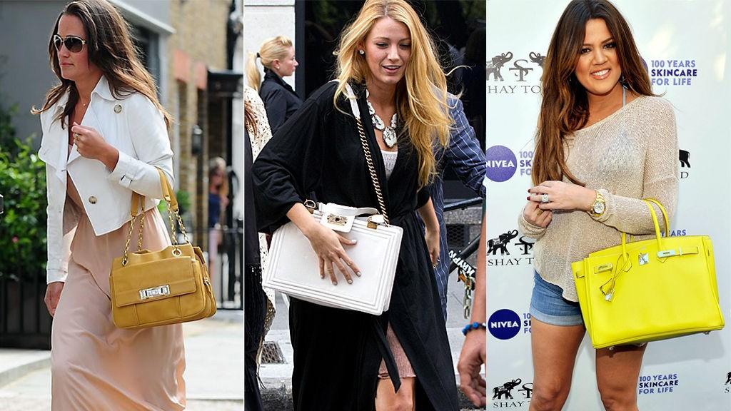 DYRT VS. BILLIG: Pippa Middleton, Blake Lively og Khloe Kardashian har misunnelsesverdige vesker. Men mens Blake og Khloe har vesker fra Chanel og Hermés, har Pippa en «billigveske» til bare 2000 norske kroner.