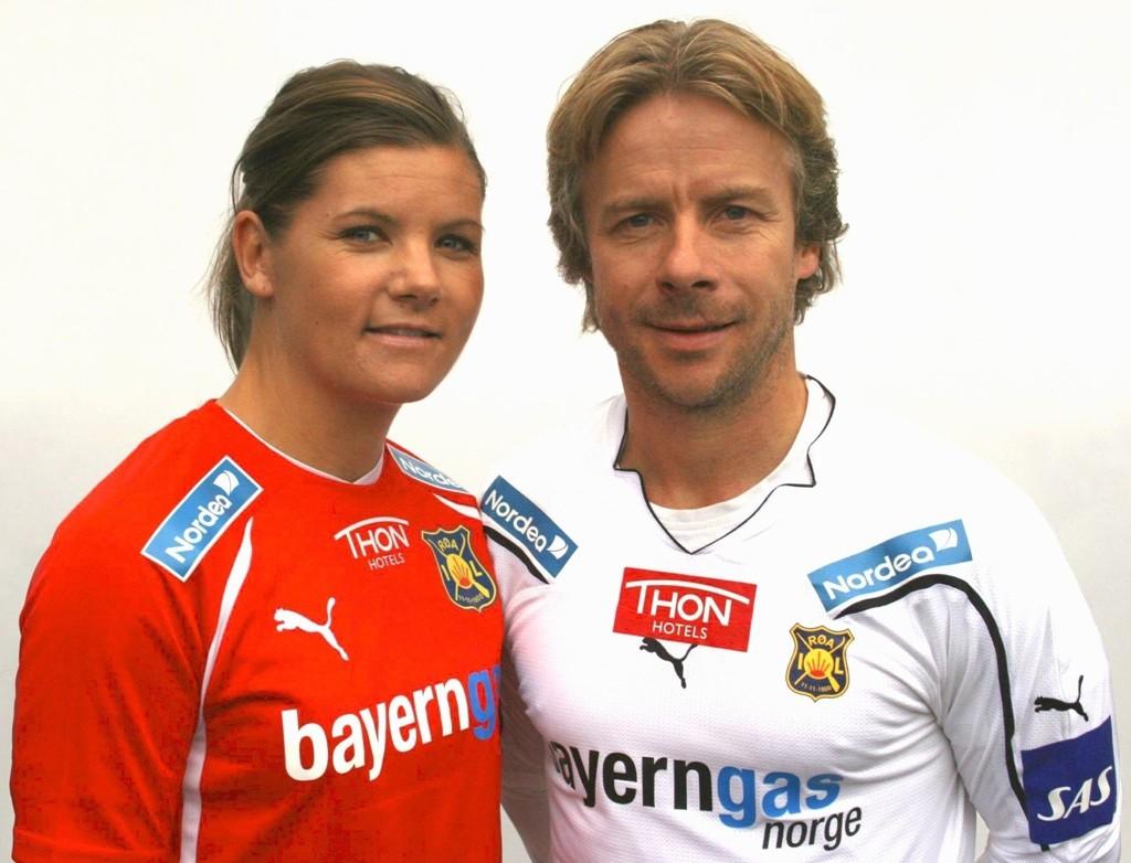 JUBLER: Kaptein Siri Nordby og trener Geir Nordby jubler for ny draktsponsor.