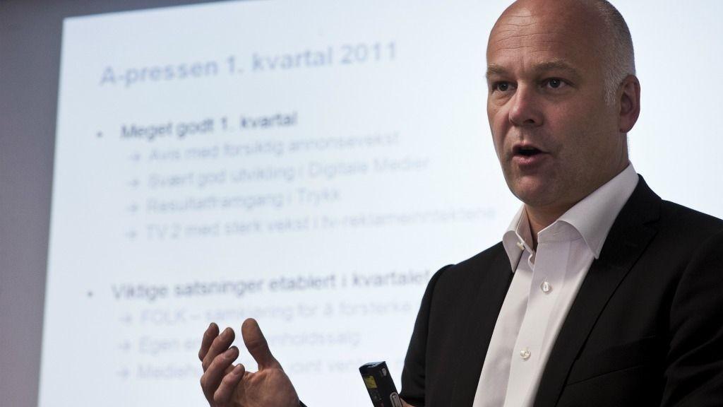Konstituert konsernsjef Thor Gjermund Eriksen i A-pressen, presenterer første kvartalsresultat for konsernet.