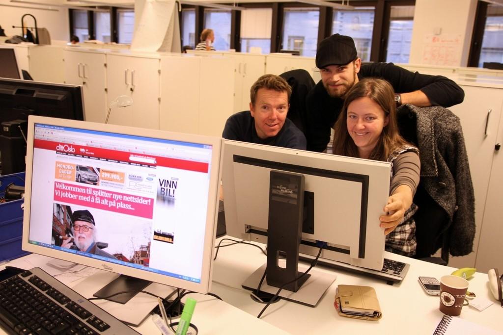Lokalavisene Oslos nettsjef Christian Haksø og frontredigerere Anders Auberg og Tone Granholt-Henriksen.