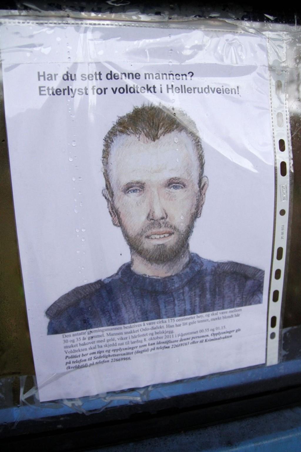 ETTERLYST: Denne mannen er etterlyst, blant annet med oppslag i busskur, i forbindelse med voldtekten på Trasop 8. oktober. FOTO: ØYSTEIN DAHL JOHANSEN
