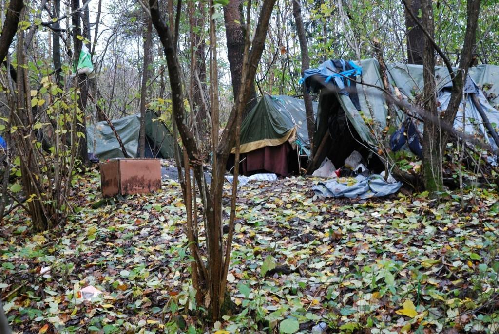 TELTLEIR: Godt skjult i Husebyskogen ligger denne teltleiren med i alt seks ulike provisoriske telt.