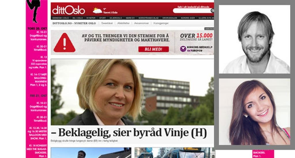 Bloggerne Jørgen Helland og Caroline Maria Nilsen har sett nærmere på dittOslo.no.