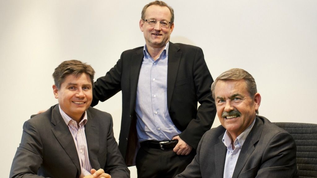 Fra venstre: Tom Hauge (leder for Professional Services), Gisle M. Eckhoff (adm. dir. Logica Norge) og Olav Sandbakken (leder for Outsourcing Services)
