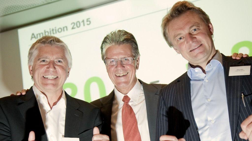 F.V: Rune Falstad (CFO), In Kunøe (styreleder) og Claus Hougesen (konsernsjef)