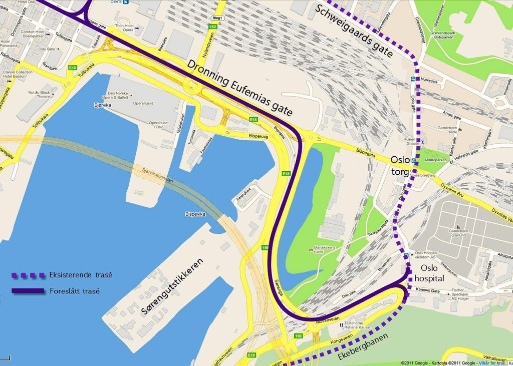 Ruter mener den beste løsningen vil være å flytte 18- og 19-trikken fra Schweigaards gate til Bispegata.
