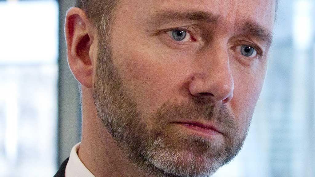 Næringsminister Trond Giske under en pause i NHOs årskonferanse på Operaen i Oslo torsdag formiddag.