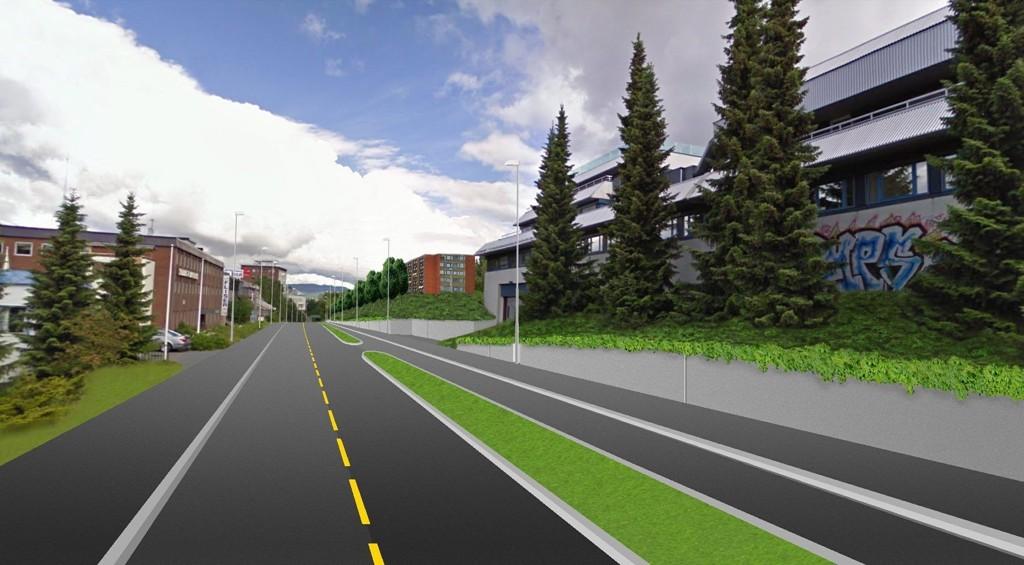 SLIK KAN DET BLI: I Enebakkveien, fra Ryenkrysset og ned mot gangbroen ved Ryenhjemmet, ønsker Statens vegvesen å lage eget sykkelfelt, adskilt fra biler med en to meter bred rabatt. Dette innebærer innsnevring av kjørebanen fra 7,7 til 6 meter.