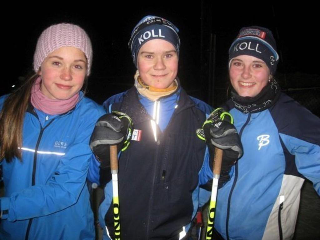 """MILKLARE: Disse Koll IL-løperne har allerede meldt seg på - Elise Skjelland (14) til venstre """"liker mye nedover"""", Kjetil Stuge Bånerud (14), i midten, tror """"at det kan bli litt tull nedover"""", og Mari Nordhagan Hamran (14) """"er glad det er skøyting, for det går fortere"""". FOTO: Koll IL"""
